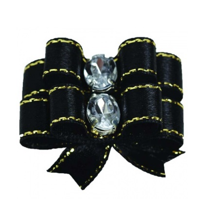 2 Bows Black w.Gold thread