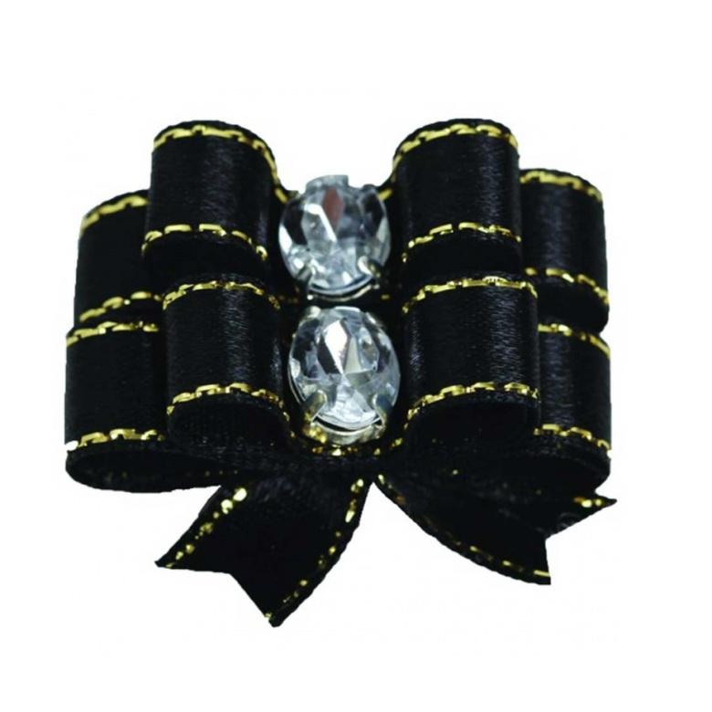 2 Bows Black w.Gold thread