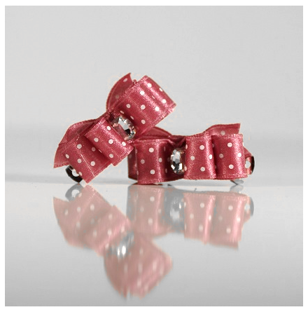 2 Bows Darkpink w.White dots