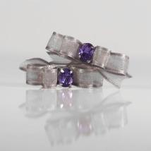 2 Bows Silver w. Purple stone