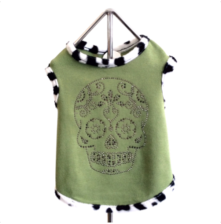 Green T-Shirt w. sparkly Skull