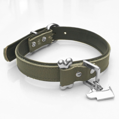 Aragon Leather collar w bone - Grey