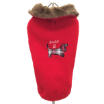 Oxford Fleece coat w. fur collar red