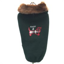 Oxford Fleece coat w. fur collar green