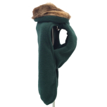 Oxford Fleece coat w. fur collar green