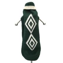 Merino sweater rhombus - green