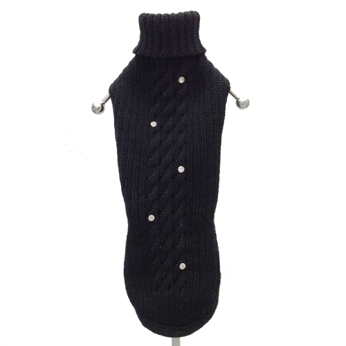 Cortina merino sweater w crystals - black