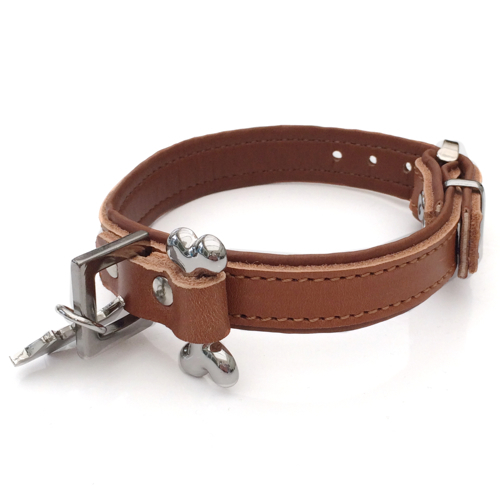 Aragon Leather collar w bone - Cognac