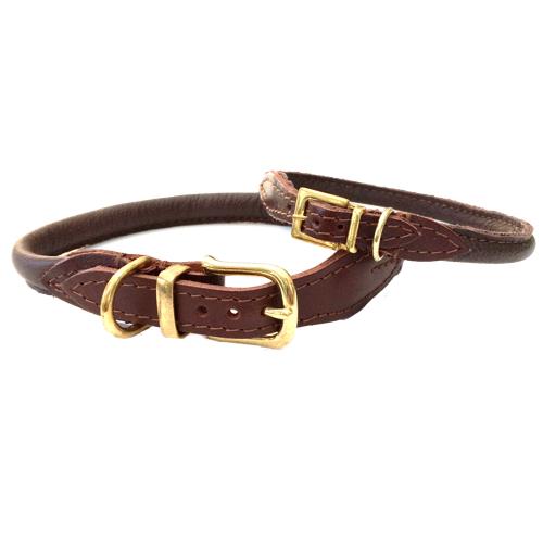 Round Leather Collar w Brass Buckle - Brown