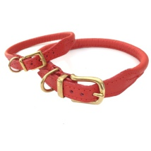 Round Leather Collar w Brass Buckle - Red
