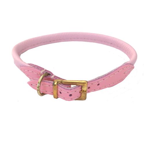 Round Leather Collar w Brass Buckle - Baby Pink