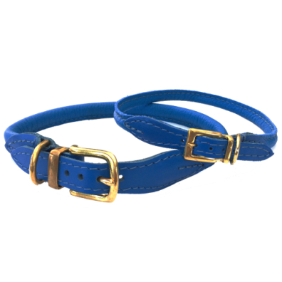Round Leather Collar w Brass Buckle - Blue