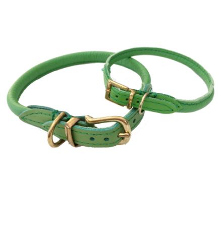 Round Leather Collar w Brass Buckle - Green