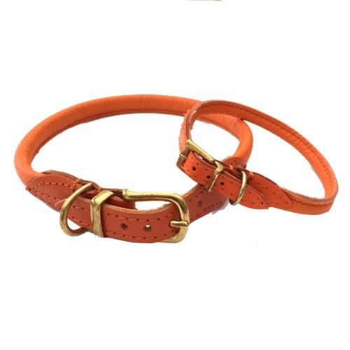 Round Leather Collar w Brass Buckle - Orange