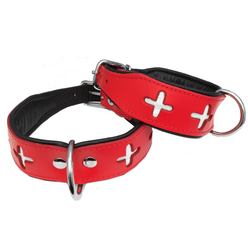 Leather Collar Swiss - Red/Black