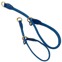 Half check adjust. Leather Collar Brass - Blue