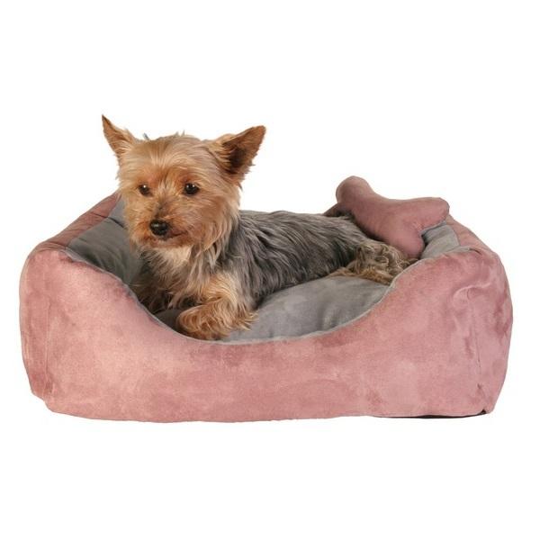 Pink/Grey Suede Bed
