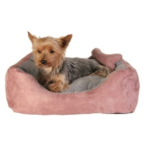 Pink/Grey Suede Bed
