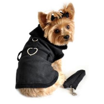 Elsa Light and Cozy Fleece Coat w leash - Black Velvet
