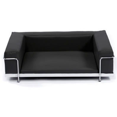 Modern Black Leather Bed Chrome Frame