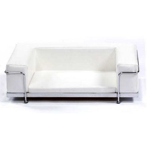 Modern White Art Leather Bed Chrome Frame