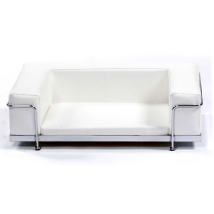 Modern White Art Leather Bed Chrome Frame