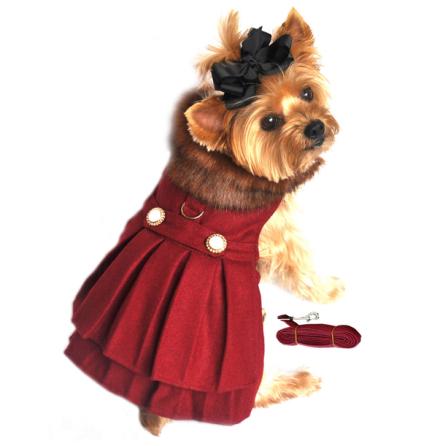 Caroline Wool coat w Fur Collar w leash