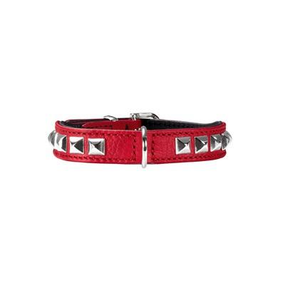 Necklace Nappa w soft studs - Red