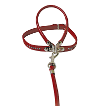 HARNESS W LEASH RED W RHINESTONES