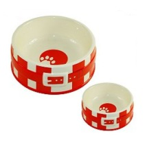 Dog Bowl w Belt - Red
