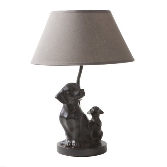 Lamp w Two Dogs - Brown/Taupe 42x30x30cm