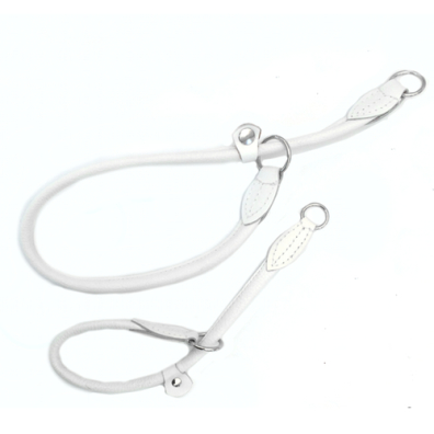 Half check adjust. Leather Collar - White