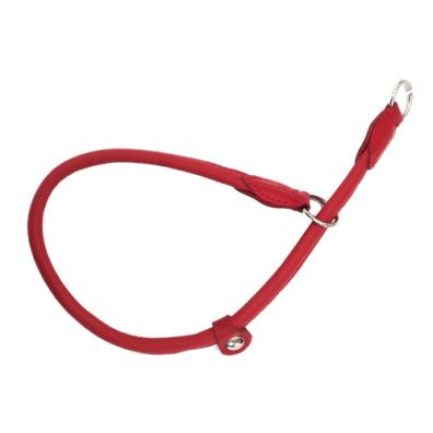 Half check adjust. Leather Collar - Red