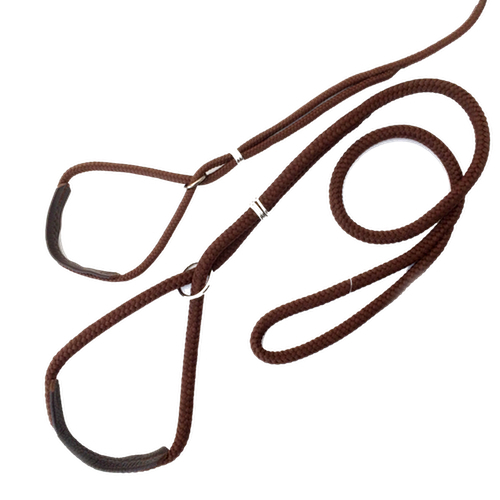 Show Leash Nylon w. leather details - Brown
