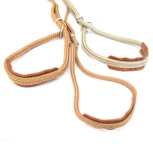 Show Leash Nylon w. leather details - Gold/Beige