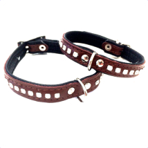Leather Collar with Rhinestones - Brown