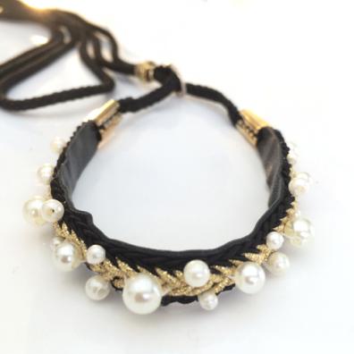 Show Leash Black Leather w pearls