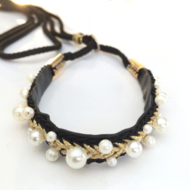 Show Leash Black Leather w pearls