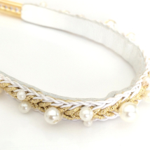 Show Leash White Leather w pearls