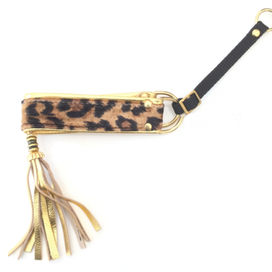Half Check Leather Collar Golden Leopard