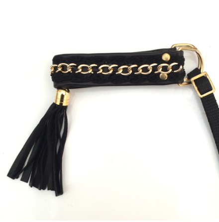 Half Check Leather Collar Black w Golden Chain