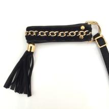 Half Check Leather Collar Black w Golden Chain