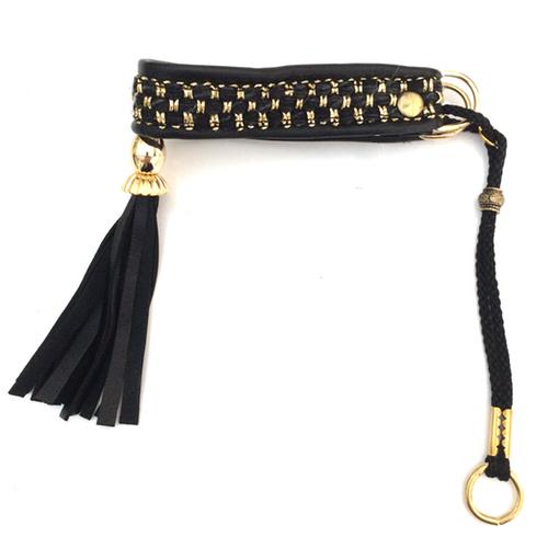 Half Check Leather Collar Black/Gold Braided