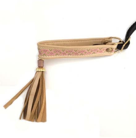 Half Check Leather Collar Beige/Pink/Gold