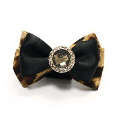 Bow to put on Collar/Harness - Black Leopard Diamond