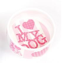 I Love my dog Porselain Bowl Pink