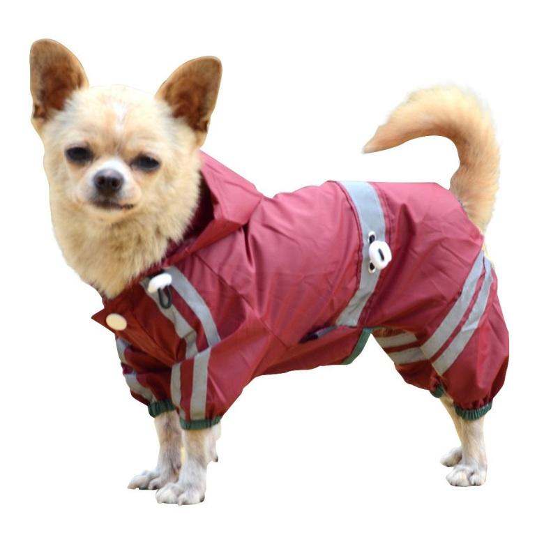 Light Reflective Raincoat 4-legged - Red