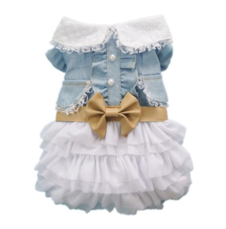 Jeans Dress w white skirt