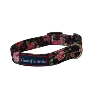 Adjust. Collar Black w. roses