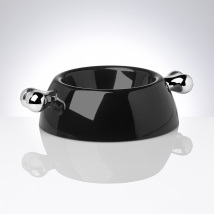 Black Melamin dog bowl w silver bones